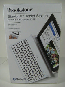 Brookstone Tablet Station Bluetooth Foldable Rechargeable Click Keys White NEW!