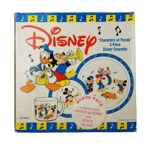 Disney 1140-A Characters On Parade Vintage 3 Piece Dinnerware Set