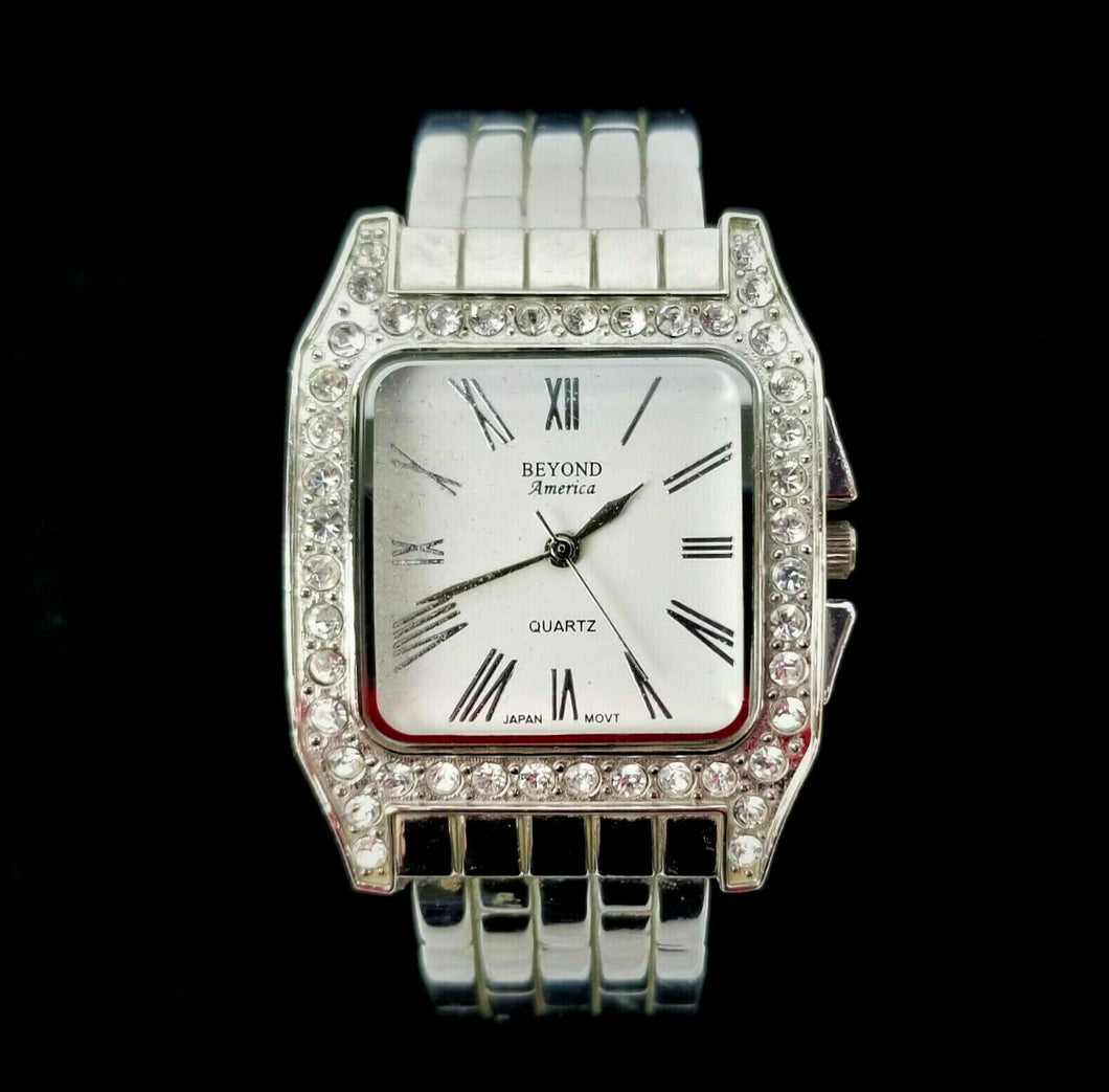 Womens CTC Quartz Watch Beyond America w/Rhinestones -Silver Color -Spring Band