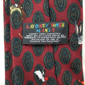 "Warner Bros ""Looney Tunes Mania"" Cartoon Images-100% Polyester Tie-Maroon-56"""