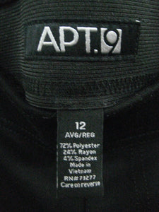 Apt 9 Womens/Girls Stretch Pants w/Pockets Black-Size 12