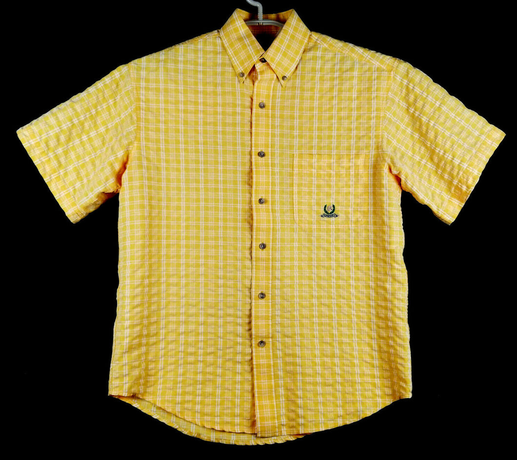 Wrangler Riata Mens Button Down SS Shirt - Collared - Yellow White Plaid - M
