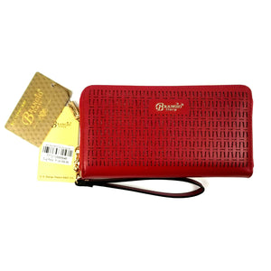 Brangio Italy Wallet Wristlet Clutch Purse - Red w/Gold Trim - 8.5 x 4.5 x 1.25