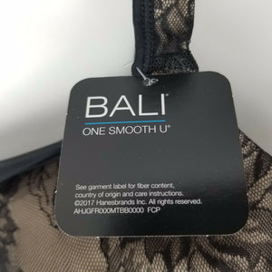 Bali One Smooth U Bra - Black/Beige w/Lace - 42DDD-Extremely Rare To Locate.