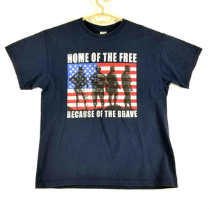 "Mens Patriotic T-Shirt -Navy - L -Cotton ""Home of the Free Because of the Brave"""