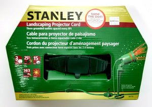 25 Ft Outdoor Stanley Landscaping Projector Cord 15Amp 3 Outlets Spaced 8Ft -NEW