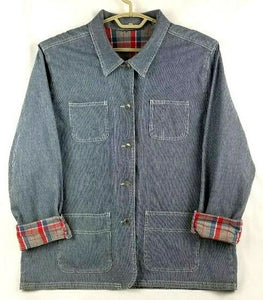 SAG HARBOR SPORT Jacket Womens Button-Down L/S - XL - Blue Denim w/Red Plaid