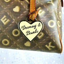 Dooney & Bourke Satchel Handbag Medium Domed Crossword Brown Heart Charm