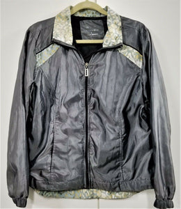 Three Hearts Womens Nylon Jacket - Mesh Lining - Gray Sateen 2-Tone - L