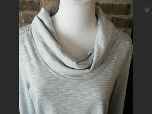 Relativity Womens Long Sleeve Tunic Top Cowl Neck Lace Trim - Gray - L