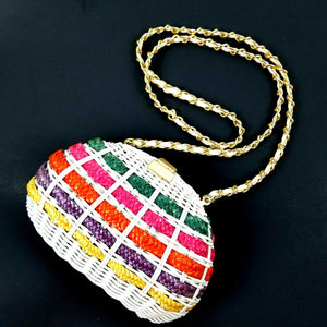 Vintage Wicker Crossbody Purse - Clam Shell Opening - Rainbow Colors - EXCELLENT