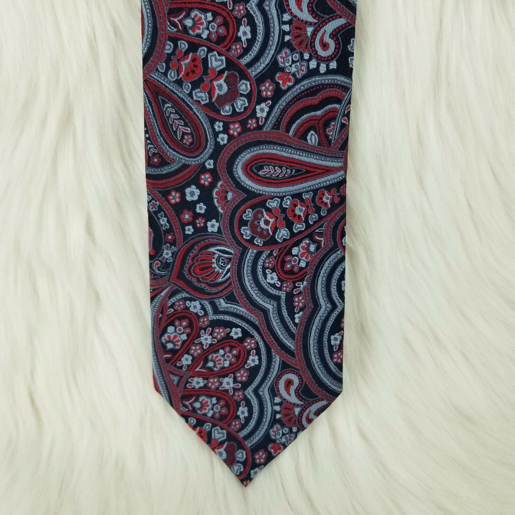 STAFFORD Necktie 100% Polyester-Classic Paisley Pattern in Black Red & Gray-58