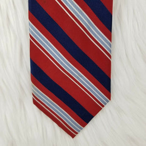 CLUB ROOM Necktie 100% Silk - Red White Blue Gray Stripes - 61""