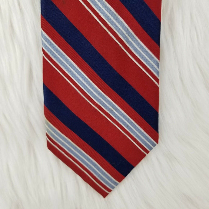 CLUB ROOM Necktie 100% Silk - Red White Blue Gray Stripes - 61