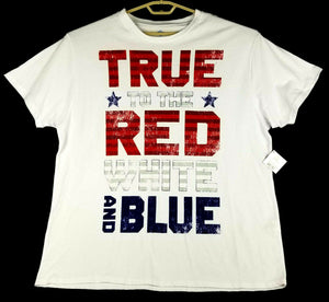 "Patriotic Mens SS T-Shirt - 3XL - White - ""TRUE to the RED WHITE and BLUE"" - NWT"