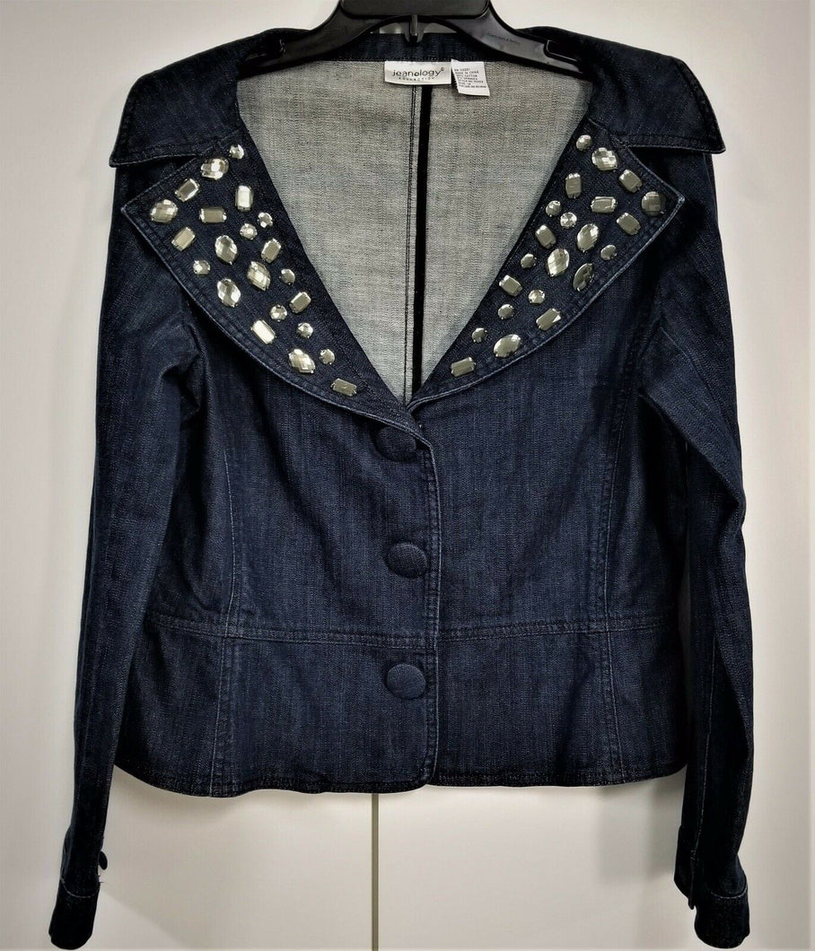 JEANOLOGY Womans Sz 2  Jewel Embelished Blue Denim Jean Jacket Large Buttons