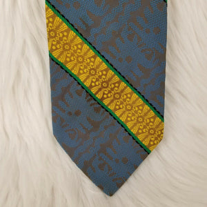 "Vintage RESILIO Necktie for ""Huddle Shop"" - Blue Gray Gold Green Black - 55"""