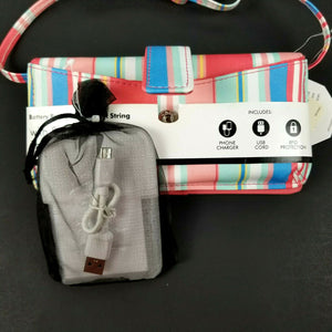 "Kim Rogers Womens RFID Wallet w/SafeKeeper & Phone Charger & MORE-46"" Strap -NWT"