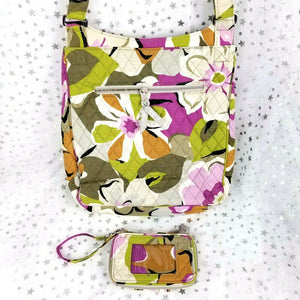 Vera Bradley Quilted Cotton Messenger Tote Handbag Matching Wallet-Floral Print