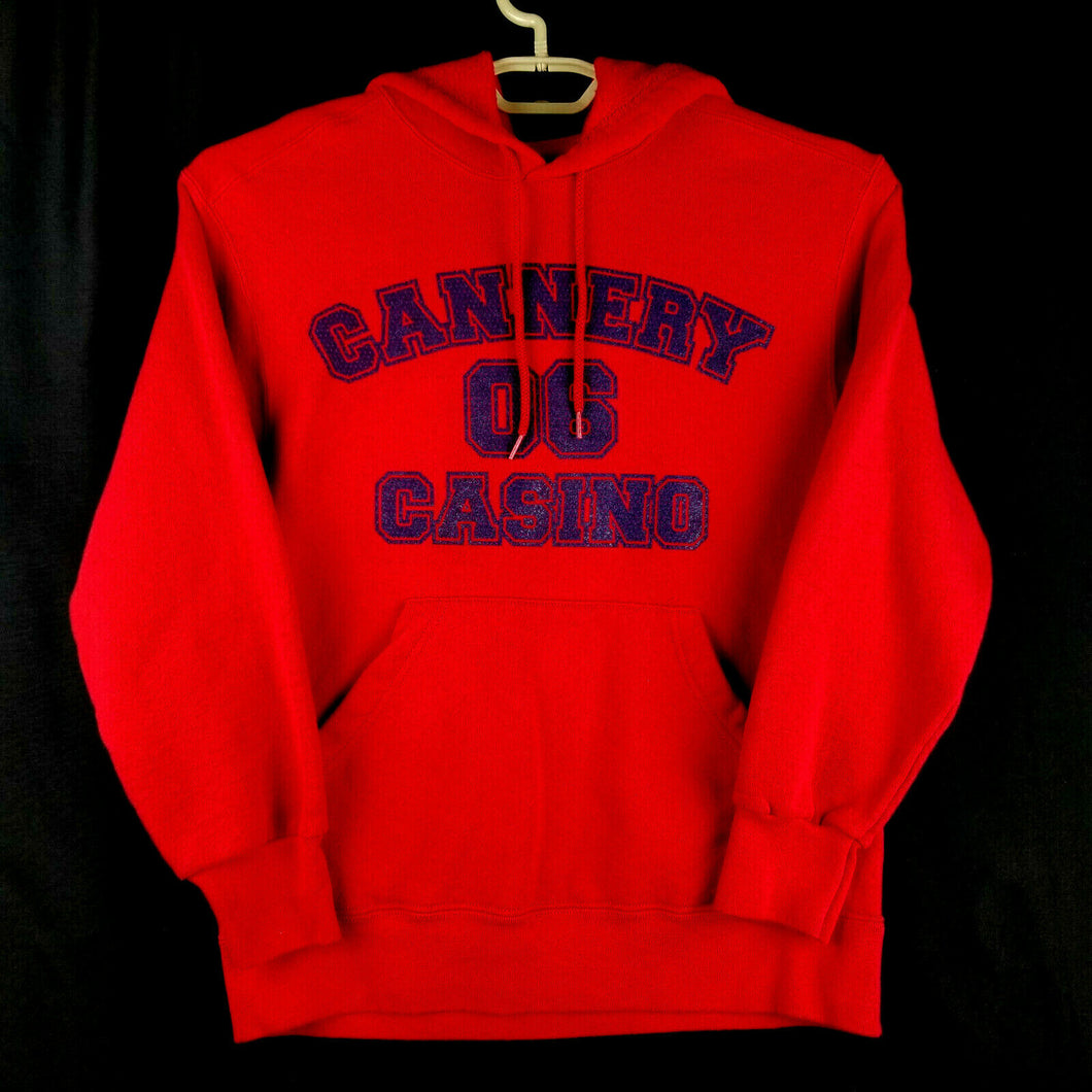FOL Heavy Flannel Long Sleeve Hooded Sweatshirt - M - Red - Cannery Casino Logo