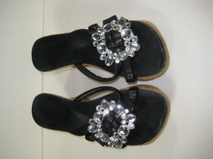Womens Cork Heel Sandals w/Rhinestones Black and Fancy Bling Size 6- Super Deal!