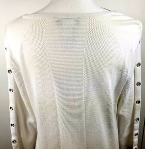 Tribal Womens Long Sleeve Fashon Knit Top w/Sleeve Eyelettes - White - XL- WOW