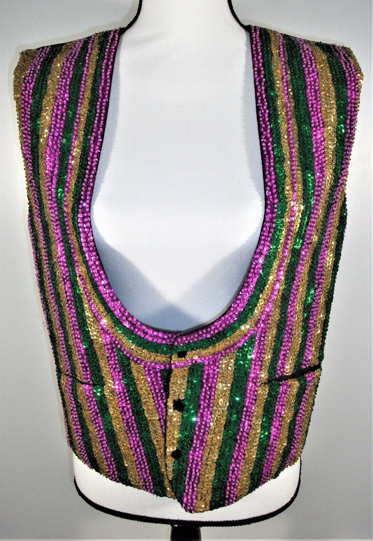 Women's Gold Green Pink Stripe Sequin Bling Glitz Vest - L