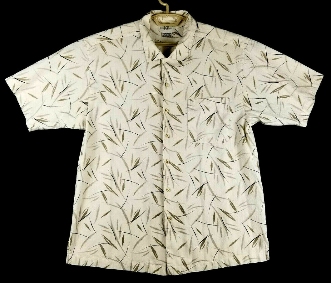 KNIGHTSBRIDGE Mens Short Sleeve Button-up Hawaiian Shirt - M - Cream Black Brown