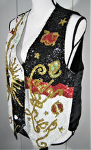 Fashion Fantasy Sun & Lady Luck Sequin Bling Vest - White Black Red Gold - L