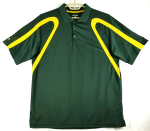 Antigua Mens Golf Polo Shirt - Green w/Gold Trim - XL -Polyester -Tagless Collar