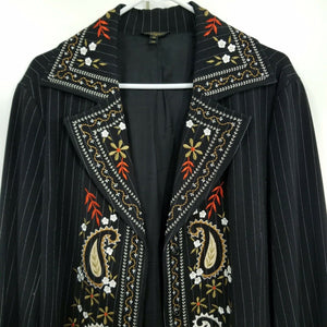 Christine Phillipe Womens 3/4 Length Pinstripe Jacket w/Paisley-Black-Sz 12