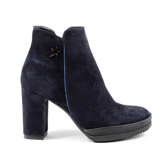 Andrew Charles Womens Heeled Ankle Boot Blue SHERYL