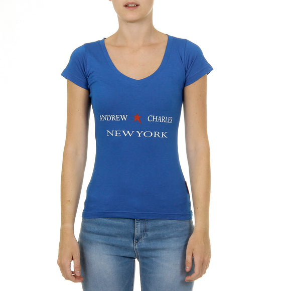 Andrew Charles Womens T-Shirt Short Sleeves V-Neck Blue TAPIWA