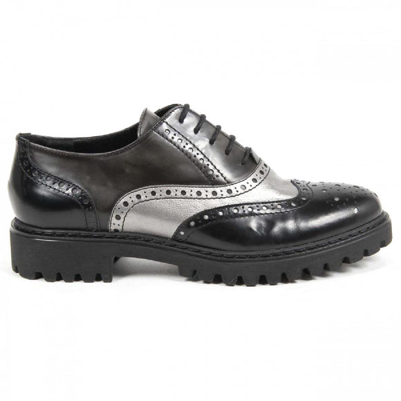V 1969 Italia Womens Oxford Shoe 5135 ABRASIVATO NERO