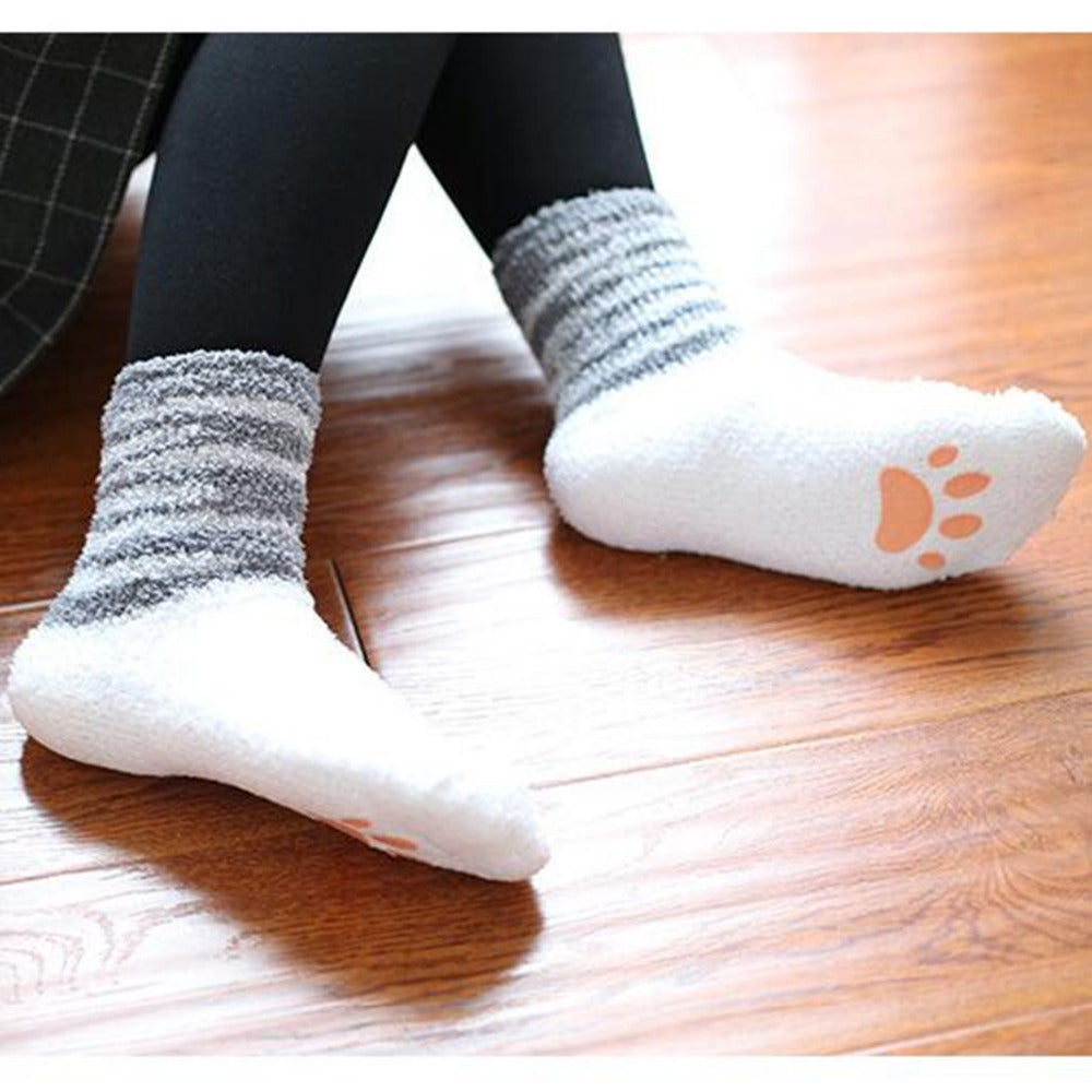 CRAZY CAT SOCKS WITH PAWS - FREE SHIPPING