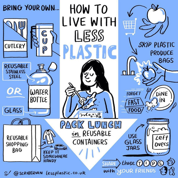 infographic on how to live with less plastic, plastic reduction infographic