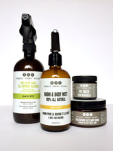 all purpose cleaner, lem love room & body mist, pit paste, and salt scrub from Really Great Goods