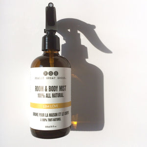 Lem Love Organic Room & Body Mist from Really Great Goods.  Handmade, Small Batch, All Natural, Vegan Bath and Body Care