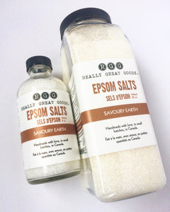 SAVOURY EARTH EPSOM SALTS from Really Great Goods.  Handmade, Small Batch, All Natural, Vegan Bath and Body Care