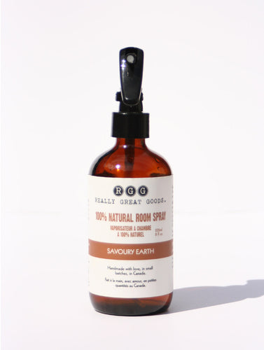 SAVOURY EARTH ROOM SPRAY from Really Great Goods.  Handmade, Small Batch, All Natural, Vegan Bath and Body Care