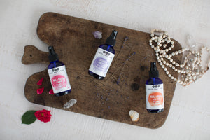 Lavender, Rose and Neroli Organic Face Mists on wooden cutting board, from Really Great Goods