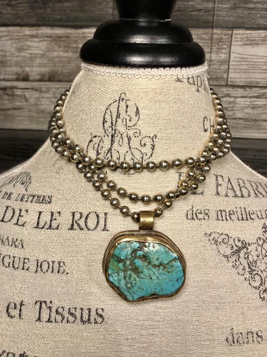 Zowee Turquoise Necklace with Brass and Sterling Silver