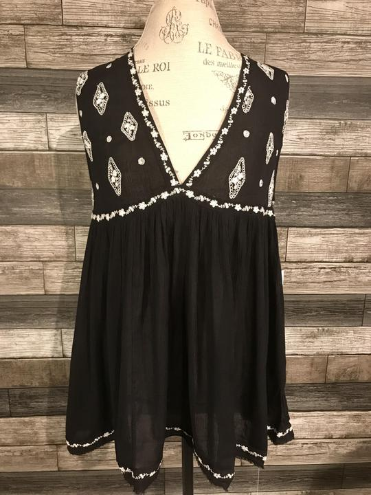 Free People Sleeveless Diamond Embroidered Tank in Black