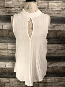 Free People Keyhole Front Tank in White