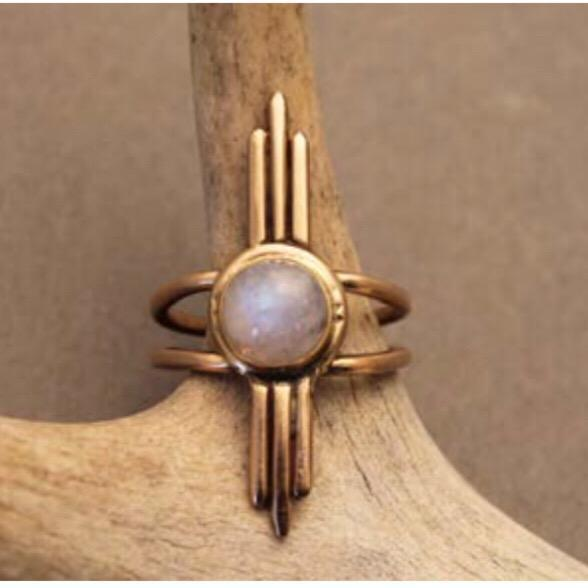 Crow Jane Umbra Ring in Bronze with Moonstone