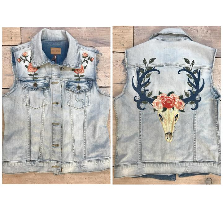 Driftwood Embroidered Denim Vest