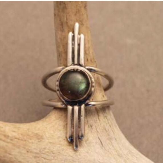 Crow Jane Umbra Ring in Sterling Silver with Labradorite
