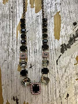 Swarovski Crystal Necklace - Black/Grey