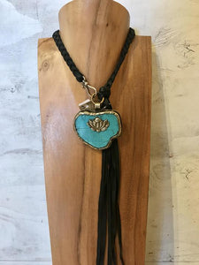 Zowee Turquoise/Lotus Flower necklace with black leather