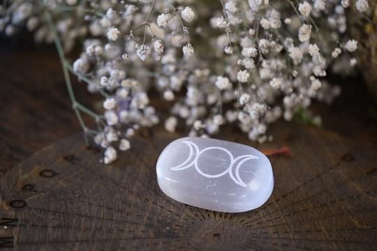 Selenite Triple Moon Palm Stone